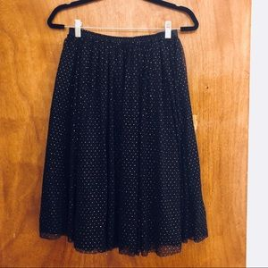 Sparkly gold and black polka dots tulle midi skirt